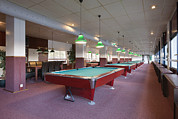 Empty Pool Prints - Five Pool Billiards Tables In A Row Print by Corepics