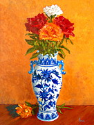 Pottery Painting Prints - Five Roses II Print by Pete Maier