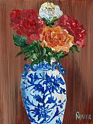 Floral Still Life Originals - Five Roses by Pete Maier