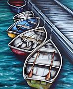 Dory Paintings - Five Rowboats by Kristina Steinbring