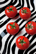Round Framed Prints - Five tomatoes  Framed Print by Garry Gay