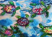 Sea Life Pastels Prints - Five Turtles Print by Emily Michaud