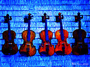 Violin Digital Art Posters - Five Violins Poster by Bill Cannon