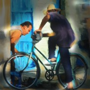 Male Portraits Digital Art Prints - Fixing A Bike - Cuba Print by Bob Salo