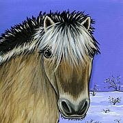 Snow Scenes Painting Framed Prints - Fjord Pony Framed Print by Leanne Wilkes
