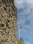 Flag Framed Prints - Flag And Castle Wall Framed Print by David M. Davies