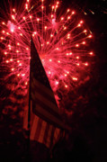 Flag And Fireworks Print by Alan Look