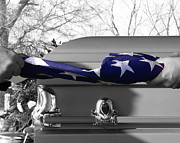 Casket Framed Prints - Flag for the Fallen - Selective Color Framed Print by Al Powell Photography USA