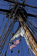 Sailing Ships Framed Prints - Flag In The Rigging Framed Print by Garry Gay