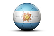 World Series Prints - Flag Of Argentina On Soccer Ball Print by Bjorn Holland