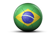 Fifa Prints - Flag Of Brazil On Soccer Ball Print by Bjorn Holland