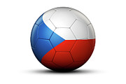 World Series Prints - Flag Of Czech Republic On Soccer Ball Print by Bjorn Holland