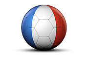 National Championship Posters - Flag Of France On Soccer Ball Poster by Bjorn Holland