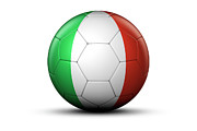 National Championship Posters - Flag Of Italy On Soccer Ball Poster by Bjorn Holland
