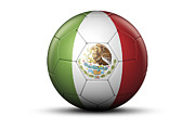World Series Prints - Flag Of Mexico On Soccer Ball Print by Bjorn Holland