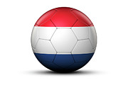 World Series Prints - Flag Of Netherlands On Soccer Ball Print by Bjorn Holland