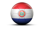 World Series Prints - Flag Of Paraguay On Soccer Ball Print by Bjorn Holland