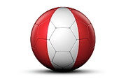 World Series Prints - Flag Of Peru On Soccer Ball Print by Bjorn Holland