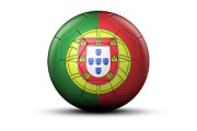 National Championship Posters - Flag Of Portugal On Soccer Ball Poster by Bjorn Holland