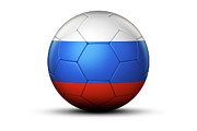 World Series Prints - Flag Of Russian Federation On Soccer Ball Print by Bjorn Holland