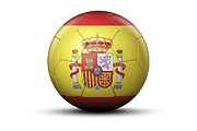 Spanish Football Prints - Flag Of Spain On Soccer Ball Print by Bjorn Holland