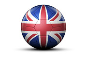 National Championship Posters - Flag Of United Kingdom On Soccer Ball Poster by Bjorn Holland