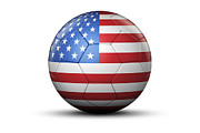 Usa Soccer. Soccer Prints - Flag Of Usa On Soccer Ball Print by Bjorn Holland