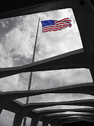 U.s. Flag Framed Prints - FLAG over BATTLESHIP ARIZONA MEMORIAL Framed Print by Daniel Hagerman