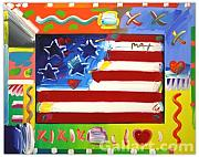 Peter Max Paintings - Flag With Hearts by Peter Max