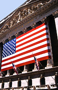 Nyc Digital Art Metal Prints - Flag Wrapped Stock Exchange  Metal Print by Linda  Parker