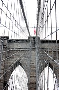 Brooklyn Bridge Prints - Flagging the Bridge Print by David Bearden