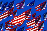 Red White And Blue Digital Art Prints - Flags American Print by David Lee Thompson