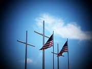 Strasburg Framed Prints - Flags and Crosses Framed Print by Joyce  Kimble Smith