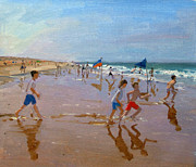 Seaside Paintings - Flags and reflections by Andrew Macara