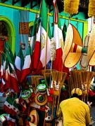 Old Mexico Photo Posters - Flags Brooms and Hats Poster by Olden Mexico