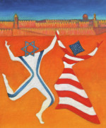 Engagement Art - Flags Dancing with Israeli Man and American Woman       by Jane  Simonson