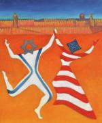 Flags Dancing With Israeli Man And American Woman       Print by Jane  Simonson