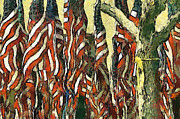 Fourth Of July Mixed Media Metal Prints - Flags for the Fourth Metal Print by Elaine Frink
