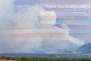 Flagstaff Posters - Flagstaff Fire  Thank You Firefighters Poster by James Bo Insogna