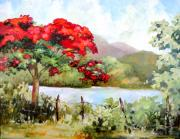 Puerto Rico Painting Posters - Flamboyan by the Lake Poster by Monica Linville