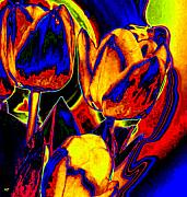 Abstract Tulips Framed Prints - Flamboyant Tulips Framed Print by Will Borden