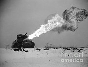 Historic Military Vehicle Posters - Flame-throwing Tank Poster by Photo Researchers