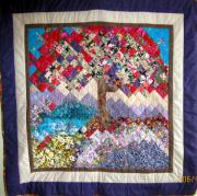 Tree  Tapestries - Textiles Metal Prints - Flame Tree quilted wallhanging Metal Print by Sarah Hornsby