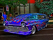 Purple Hot Rod Posters - Flamed Wagon Poster by Perry Webster
