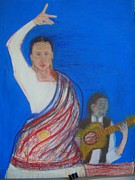 Fun Pastels Posters - Flamenco Dance Poster by Moneca AtleyLoring