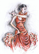 Spanish Fiesta Mixed Media Posters - Flamenco Dancer in Red Poster by Jill Bennett