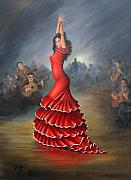 Red Guitar Framed Prints - Flamenco Dancer Framed Print by Mai Griffin
