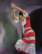Spain Pastels - Flamenco Dancer with Shadow by Marcus Moller