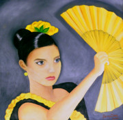 Creative Paintings - Flamenco Girl by Fanny Diaz