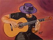 Flare Paintings - Flamenco Guitar by Brenda Morgado